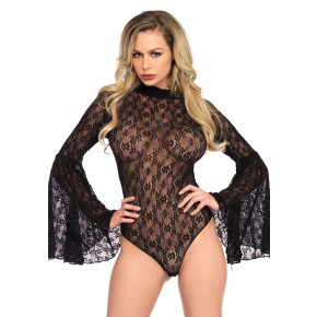 Sort Blonde Bodystocking med vidde ærmer